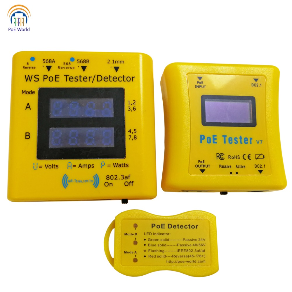 Image 2 - PoE World CCTV Tools PoE tester PoE Detector LED Display Testers Inline Power over Ethernet Voltage and Current Tester-in Transmission & Cables from Security & Protection
