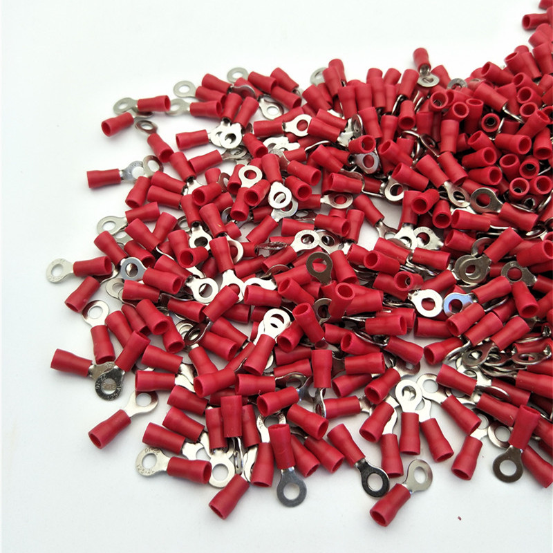 1000 Stücke RV1.25-4 Roten Pre Isolierte Ring Terminals Lug ...