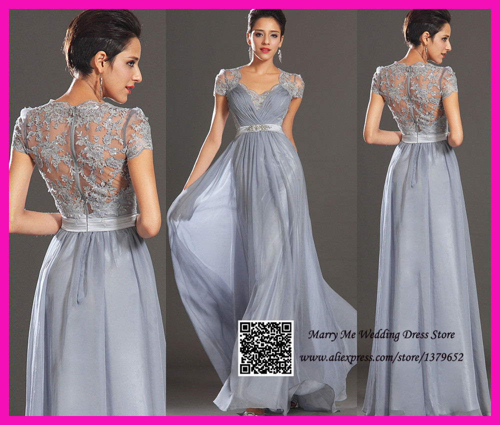 Modest 2015 short sleeve lace grey silver long bridesmaid for Gray dresses for a wedding