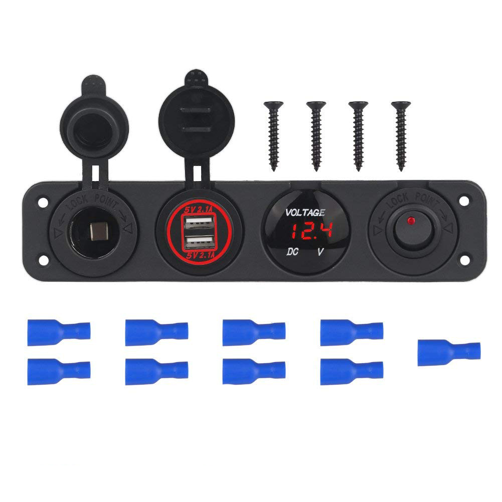DIY 4 Hole Panel 4.2A Dual Usb Charger Cigarette Lighter Rocker Switch VoltMeter For RV Car Boat Trailer Vehicles Truck Yacht