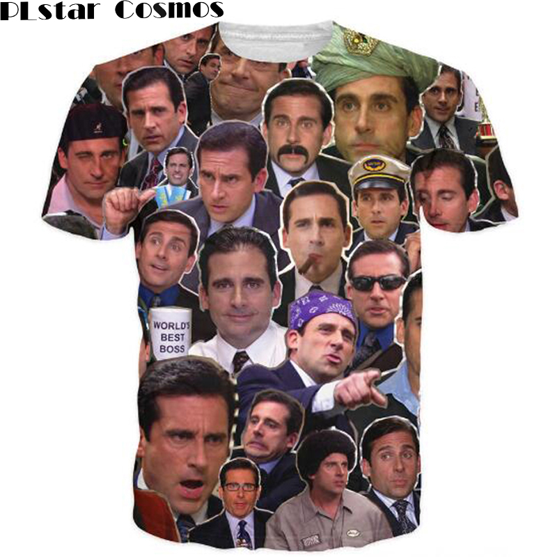 PLstar Cosmos Free Shipping Many Faces of Michael Scott Paparazzi T-Shirt Fashion summer style t shirt tops for women men