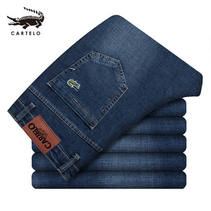 Image 2 - Selecionado jeans magros masculinos luz ajuste fino meados da cintura jeans para homens roupas pretas com bolsos laterais 2111 cartelo nova marca 2019