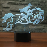 7 Colors Changing 3D Horse Racing Equestrianism NightLight LED USB Visual Desk Lamp Bedroom Decor Baby