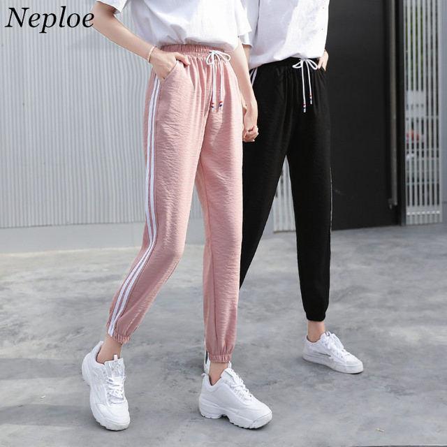 Neploe 2019 verano Pantalones Harem lado rayas pantalones elásticos de  encaje de cintura-Mujer Pantalones 9c126f8b3ae3