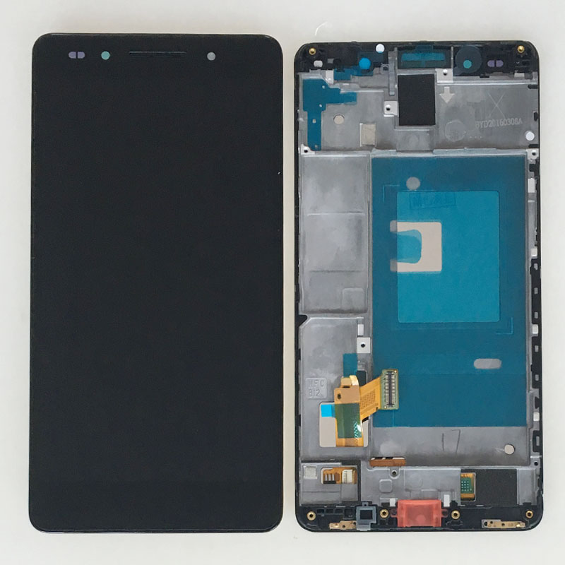 ФОТО New Black New Touch Digitizer Glass LCD Display Assembly +Frame For Huawei Honor 7 Replacement