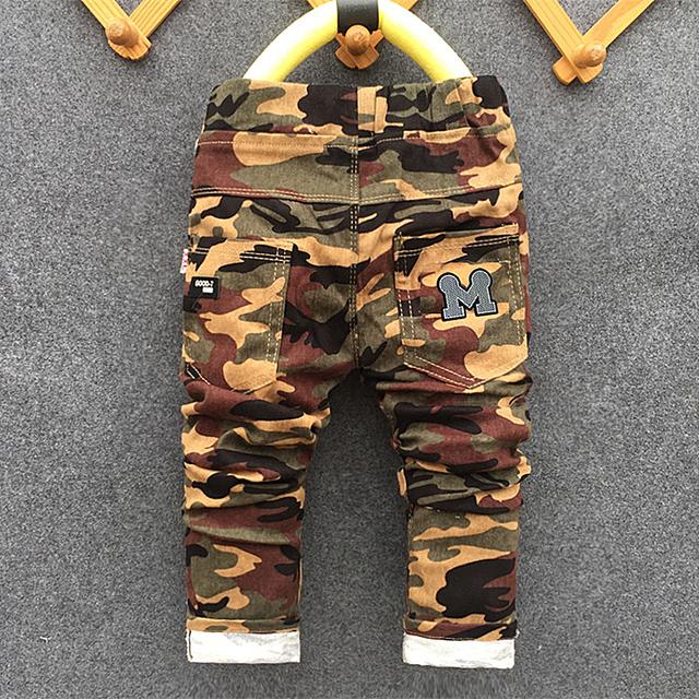 Novo 2017 Adolescentes de Jeans de inverno Para O Menino Camuflagem Bebê Meninos Calças Jeans Crianças Jean calças Individuais das Crianças para o menino calças