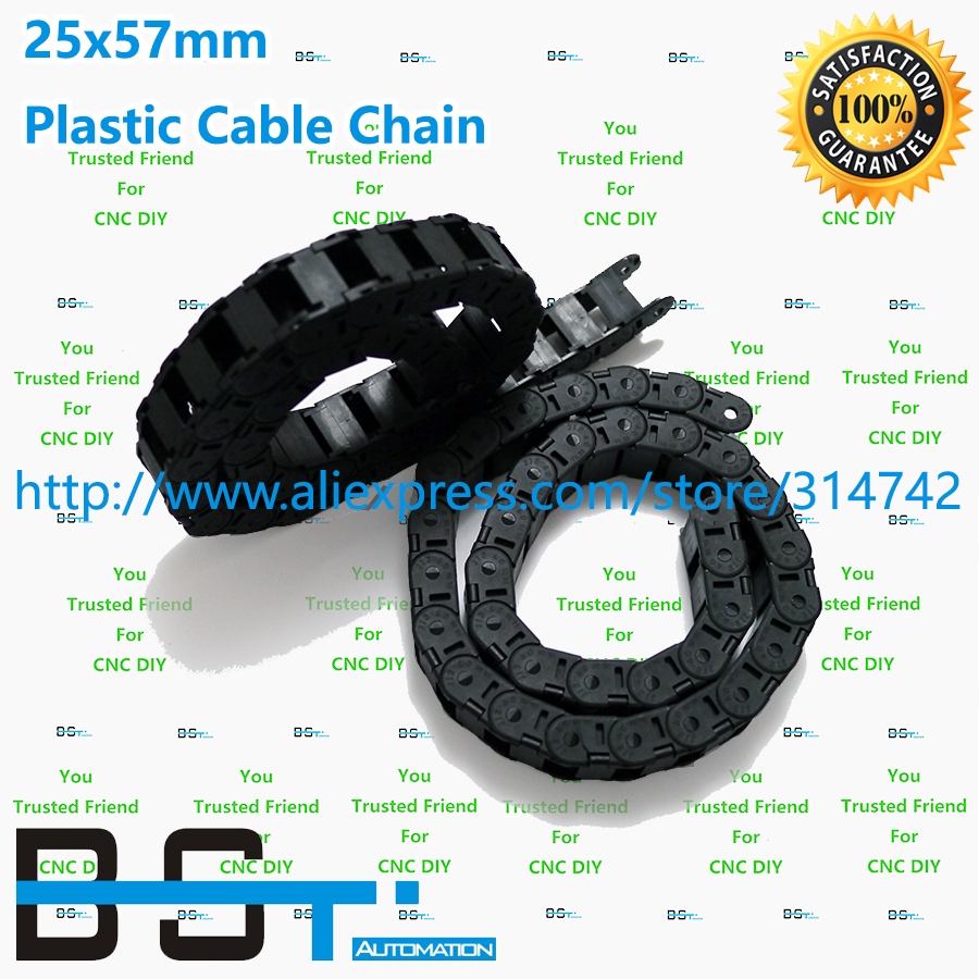 1 Lot 10 meter 25mm 57mm CNC Plastic cable drag chain TP25 57 cable carrier OPEN