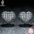 Zirconia Brincos 925 Sterling Silver In My Heart Pave Clear CZ Stud Earrings Compatible with VRC Women Jewelry Wedding S444