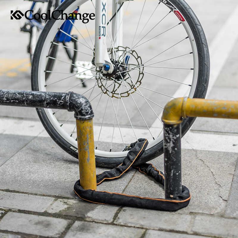 Coolchange Sepeda Rantai Kunci Kolam Sepeda Pelindung Bersepeda Rantai Kunci Aman Anti-Pencurian Sepeda Rantai Kunci untuk Sepeda Motor Kunci