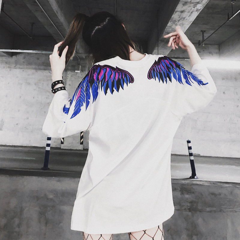 2019 Summer Cartoon Casual T Shirt Women Angel Wing Pattern Loose Tshirt Lovers Hip Hops Style тренды весна лето 2018