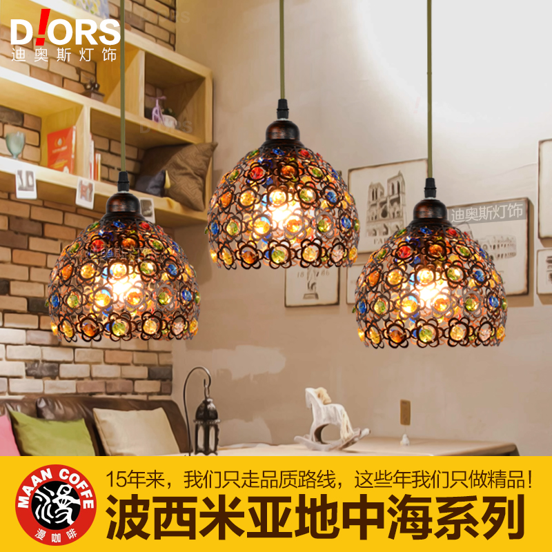 American Country Bohemia, Southeast Asia, Personalized Creative Iron, Crystal penden Lamp Restaurant, Bar, Cafe Chandelier N1331