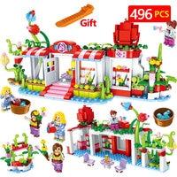 Technic Blocks Compatible LegoINGLY Girl Friends Flowers House Princess Dream House Educational DIY Bricks Toys For Children