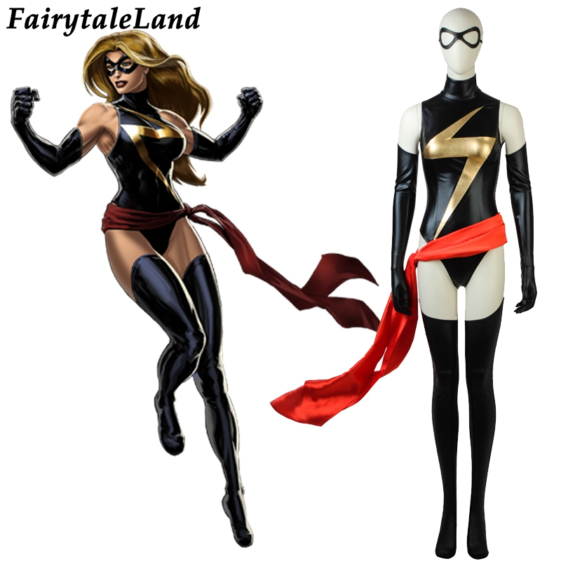 Avengers Carol Danvers Cosplay Costume Halloween costumes for Women Superhero Ms. Marvel Black Jumpsuit sexy costume