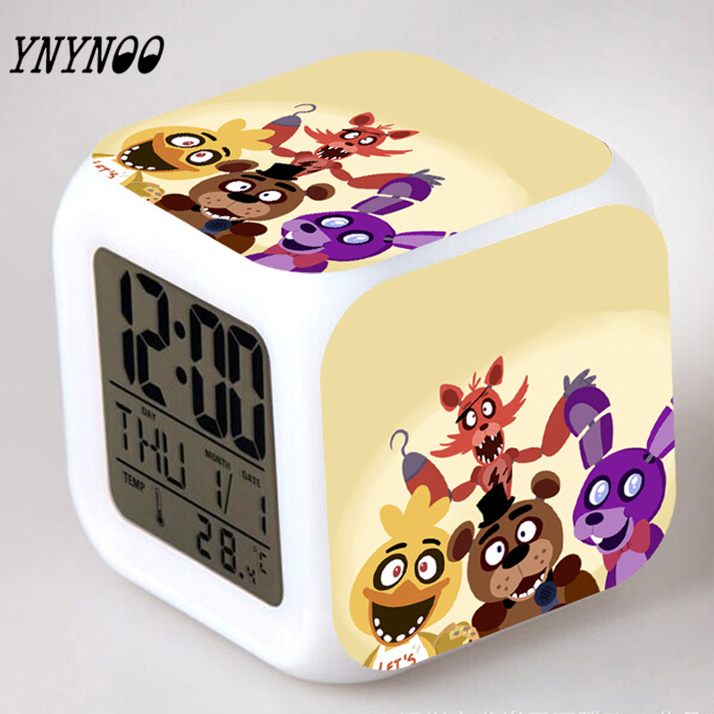 (YNYNOO)Five Nights at Freddy's boys toys color changing clock cartoon game pattern boys action toys figure touch light Freddys