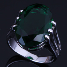 Charming Oval Egg Green Cubic Zirconia 925 Sterling Silver Ring For Women V0475