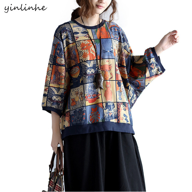 a7ccb47e357 yinlinhe 2017 Big Size Summer Loose Women T-shirts Cotton Character Print Tops  Tees Female Pullover Casual Clothes Plus Size 281