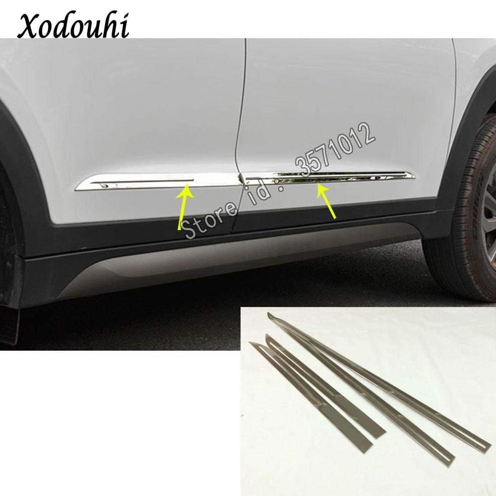 Car Styling Stainless Steel Door Body Trim Stick Strip Molding Stream Lamp Panel Bumper 4pcs For Hyundai Tucson 2019 2020