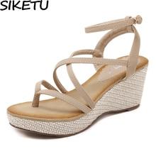 SIKETU Women Bohemia Gladiator Sandals Ring Toe Thong Flip F