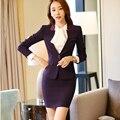 Осень с длинным рукавом юбка костюмы элегантные деловых женщин blazer с юбка V-образным Вырезом Тонкий формальное офис женский рабочая одежда 2 шт. набор