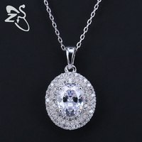 Romantic Oval Ellipse Cubic Zirconia Crystal Round Choker Pendant Necklace 925 Sterling Silver Chain Women Jewelry Accessories