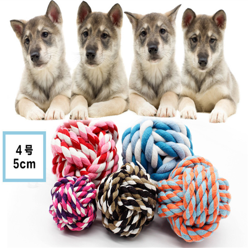 Funny Cotton rope Dog Toy Baby Cat Toys 5 CM Rainbow Durable Play Balls For Pets drop shipping