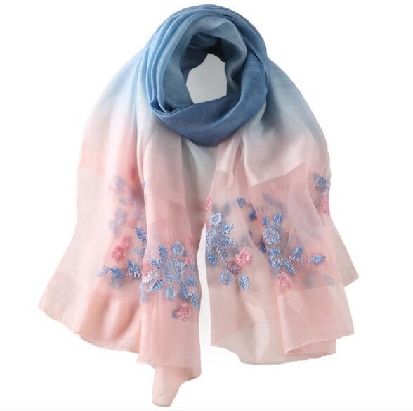 Летняя Цветочная вышивка шелковый шарф градиент шарф для