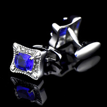 Bridegroom Wedding Party Business Men French Shirt Cuff Links Royal Blue Crystal Zircon Cufflinks Silvery Cufflink With Gift Bag circle milestone steel varnish baking cufflinks for men silvery blue pair