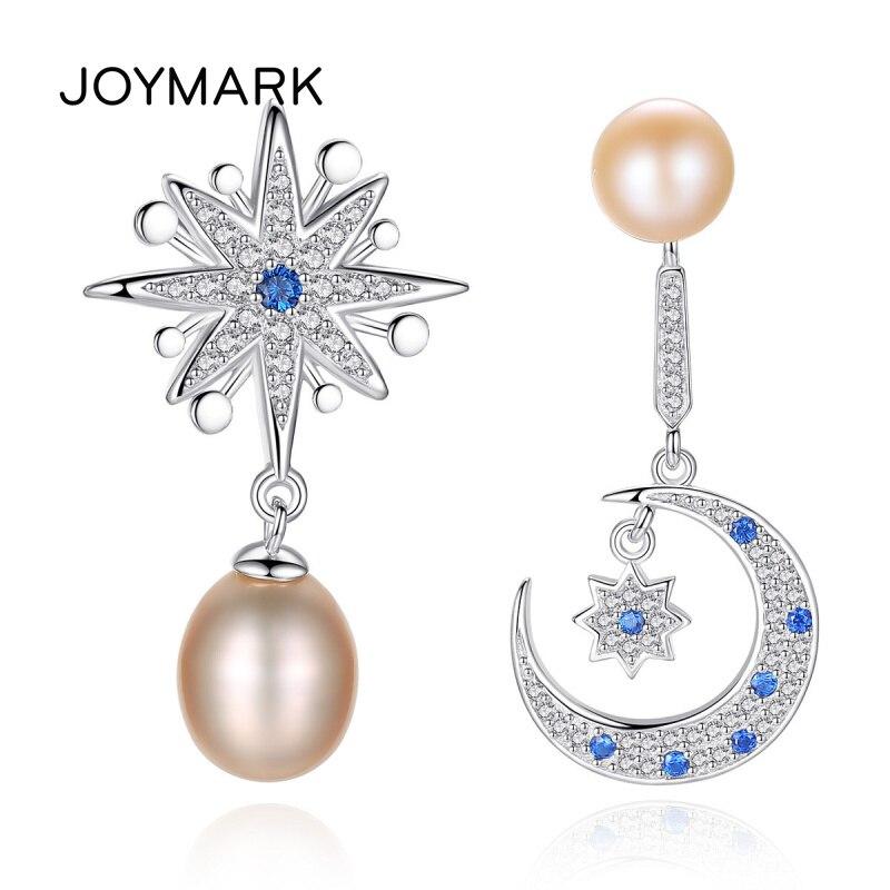 Exquise Zircon pavé lune et étoiles 925 en argent Sterling naturel perle d'eau douce boucles d'oreilles pour les femmes conception Unique JPSE022