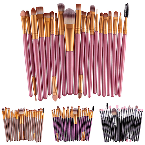 popfeel 20pcs Makeup Brushes Eyebrow Blusher Lip Powder Foundation Eyeshadow Eyeliner Cosmetic Brush Soft Synthetic Hair