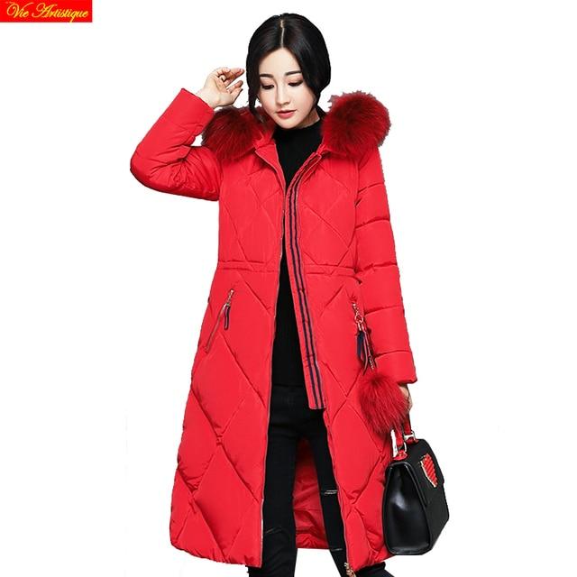 winter jacket woman parka fem me hiver women's long coats and jackets plus big size jazzevar miegofce icebear  red black 2018