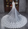 Ivory Long Lace Cathedral Wedding Veil Luxury Crystal Beaded Bridal Veil for Bride