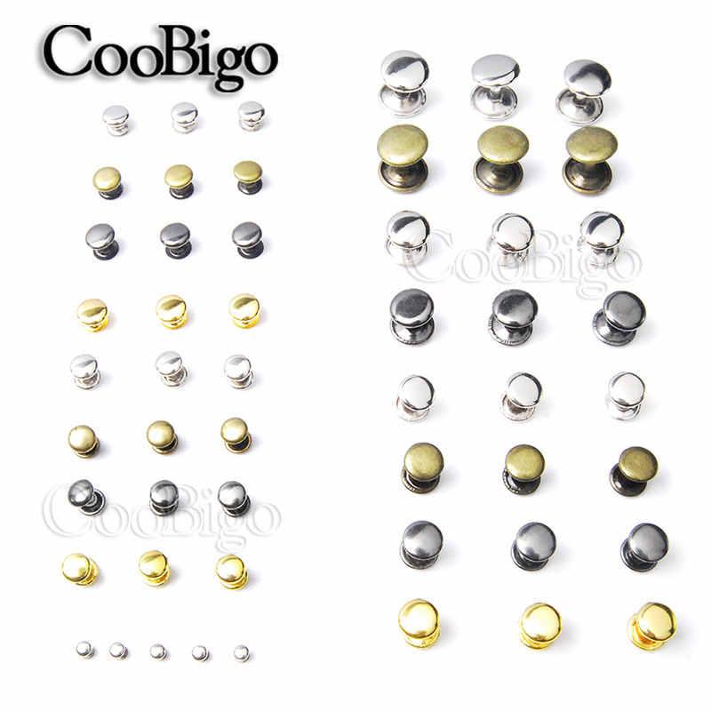 100 takım Metal çift kap yuvarlak perçinler çiviler hızlı perçin deri el sanatları için çanta kemeri giyim konfeksiyon ayakkabı Pet yaka dekor