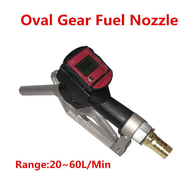Oval Gear Fuel Nozzle Fuel Gasoline Diesel Petrol Oil Delivery Gun Nozzle Turbine Digital Fuel Flow Meter LPM Liter цены