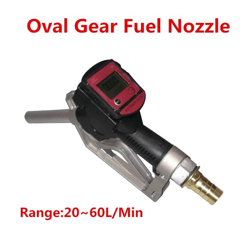 Oval Gear Fuel Nozzle Fuel Gasoline Diesel Petrol Oil Delivery Gun Nozzle Turbine Digital Fuel Flow Meter LPM Liter цена