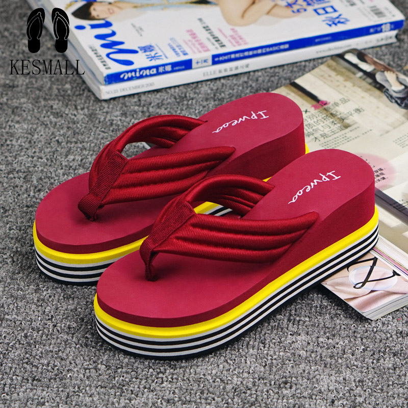 KESMALL New High quality Ultra 6.6cm High Heels Beach Slippers Summer slip muffin Wedges Platform Sandals Flip Flops Women WS81  high quality man flip flops slippers beach sandals summer indoor