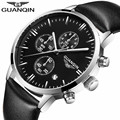 2016 Men's Watches New Fashion Luxury Top Brand GUANQIN Chronograph Male Dress Leather Belt Sports Clock Quartz Wrist Watches