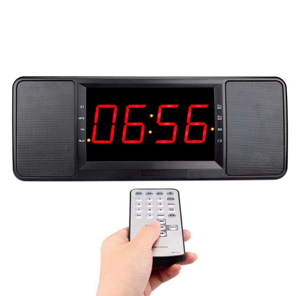 Remote Control 5W Dual Alarm Clock Bedside FM Radio Bluetooth Speaker Lossless Music Player Handsfree Calling Radio Y4369A цена 2016