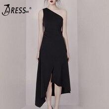INDRESSME 2019 New Women Fashion Black Dress One Shoulder Ruffle Asymmetrical Hemline Party Midi Dress