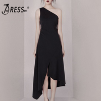 INDRESSME 2019 New Women Fashion Black Dress One Shoulder Ruffle Asymmetrical Hemline Party Midi Dress