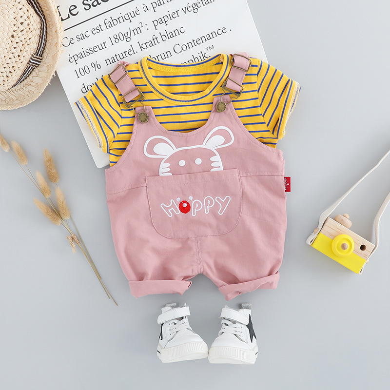 Yellow Green Newborn Clothes For Boy Set Striped T-shirt & Cartoon Overalls Shorts 2pcs Pink Baby Girl Outfit Cotton Infant SuitYellow Green Newborn Clothes For Boy Set Striped T-shirt & Cartoon Overalls Shorts 2pcs Pink Baby Girl Outfit Cotton Infant Suit