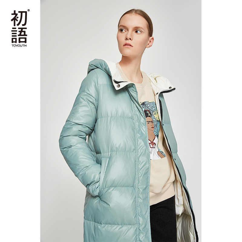 774e4dfd6 Toyouth Duck Down Long Coat Women Winter Puffers Coats Hooded Outwear  Ladies Thickening Casual Coats Black Warm Coat 2019