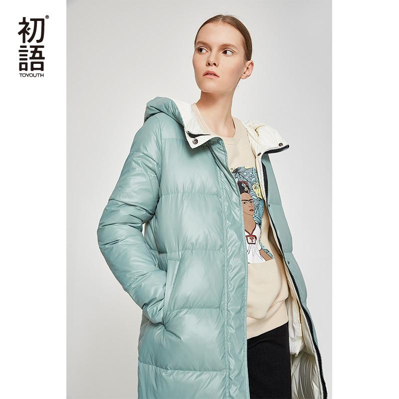Toyouth kaczka w dół długi płaszcz kobiety zima Puffers płaszcze z kapturem znosić panie pogrubienie płaszcze casualowe czarny ciepły płaszcz 2019 w Płaszcze puchowe od Odzież damska na  Grupa 1