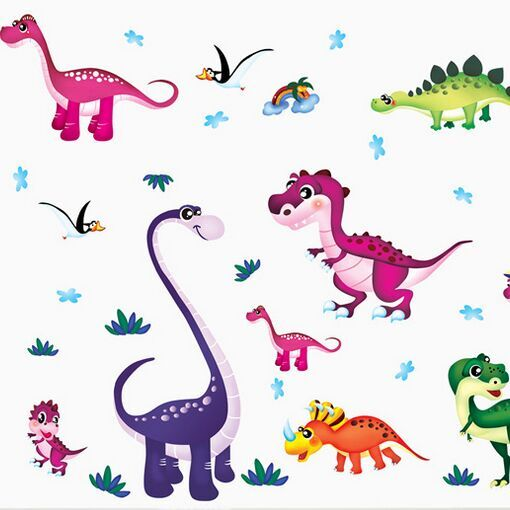 Cartoon Colorful Dinosaurs Wall Stickers Pvc Diy Kids Room
