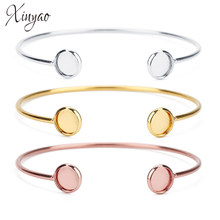 XINYAO 2018 Fashion Stainless Steel Round Charm Bracelet Bangle For Women Gold Rose Gold Color Open Cuff Bangles Jewelry Gifts(China)
