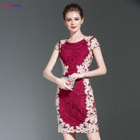 HANZANGL 2017 Brand Women Dress Summer Elegant Vintage Party Special Occasion Bodycon Lace Embroidery Dress
