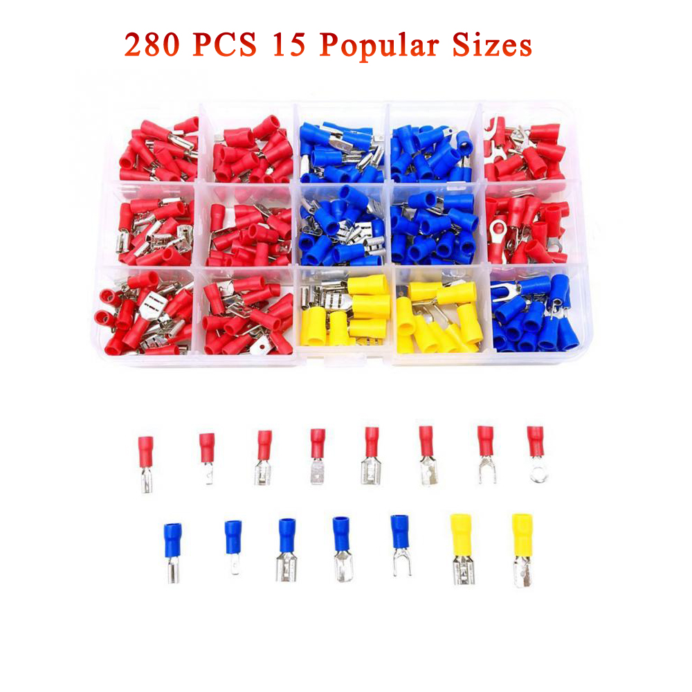 20Pcs 12-10Gauge Insulated Wire Connectors M6 Fork Spade Yellow Crimp Terminals