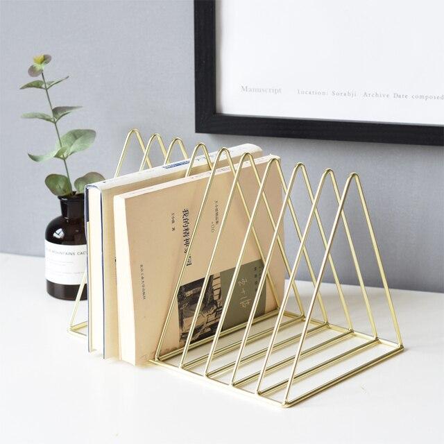 Ins Rose Gold Bookshelf Desktop Metal Book Block Office Newspapers Magazines Storage Rack Scandinavian Home Decor Golden Shelf