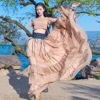Бесплатная доставка чешские длиной макси Для женщин шифон и Denim Лоскутные юбки Ruffle слоистых эластичный пояс бальное платье Boahow юбки
