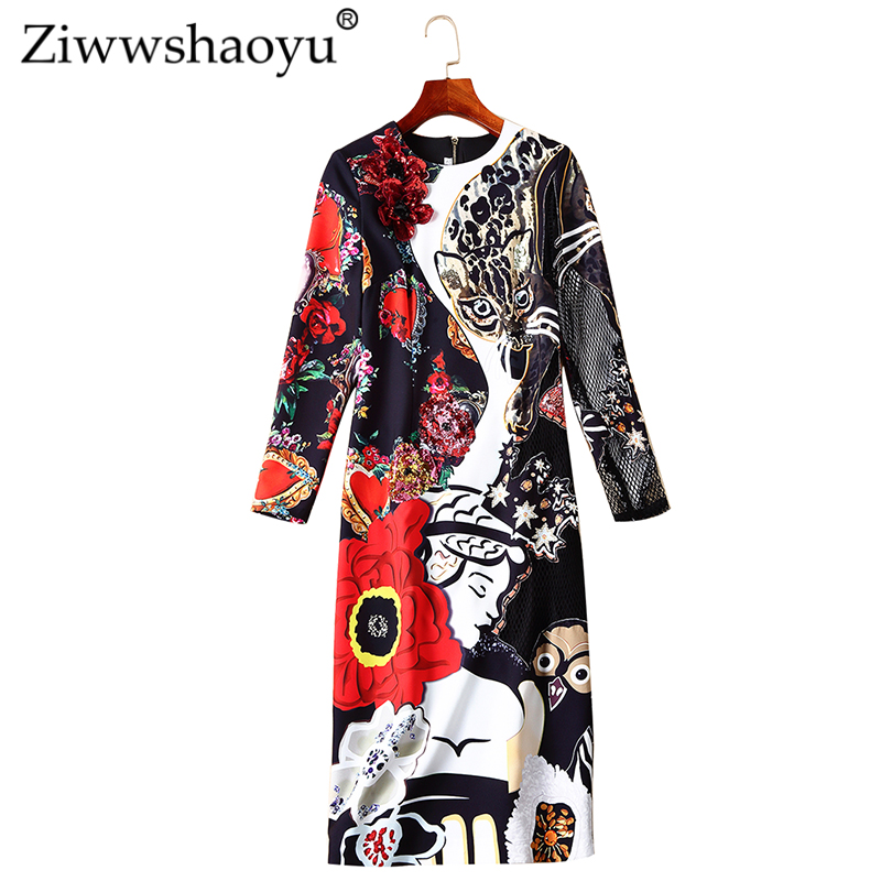 Ziwwshaoyu Elegant Lace Patchwork Pencil dress O-Neck Print Sequined fashion Dresses 2019 spring and summer runway new women
