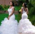 Vestido De Novia Blanco de Talla grande de La Sirena Vestidos de Novia 2016 Cristales Beaded V Neck Lace-up Falda de Volantes de Tul Vestidos de novia